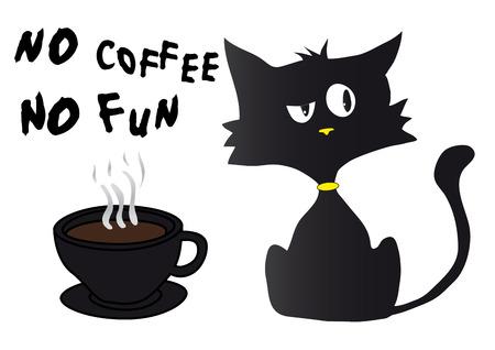 Cartoon black cynical kitten.
