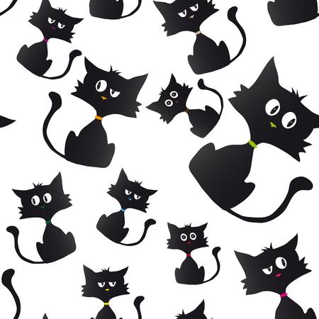 cynical: Cartoon black cynical kitten.