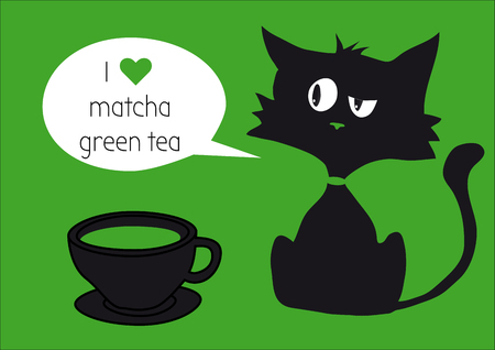 Black cat with cap of matcha tea isolated on green background with text, green heart, one white bubble label