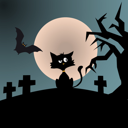 Cynical black cat in a horror scene, tree, grave and bat sihouettes, full moon Ilustração