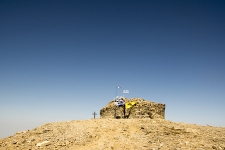 Little stone chapel of the Holy Cross, Mount Ida, Idha, Idhi, Ita, Psiloritis is the highest mountain on Crete in Idi mountains Banco de Imagens