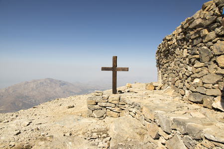 Wooden cross, Mount Ida, windy mount, Idha, Idhi, Ita, Psiloritis is the highest mountain on Crete in Idi mountains