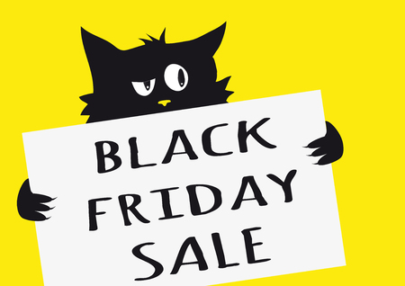 Black friday sale poster with black cynical cat holding a sign with text Black friday sale on a yellow background