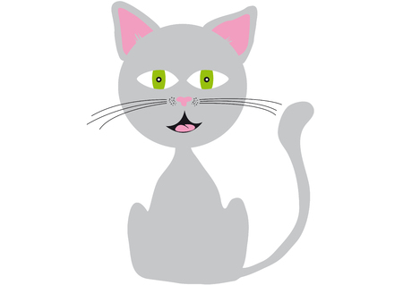 Cute romantic gray cat with green eyes, pink ears, smiling