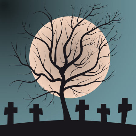 Deciduous tree on graveyard with graves full moon, calm and scary halloween scene Ilustrace
