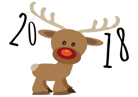 Pour feliciter card, year numbers 2018 tied by a strings on reindeers Illustration