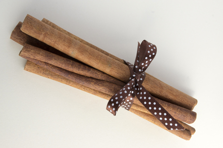 Fresh raw cinnamon sticks on white background tied with brown dotted bow Stock Photo