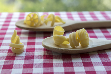 Various mix of pasta on wooden spoons on purple white checkered tablecloth, shapes ruotes and macaroni Stock Photo