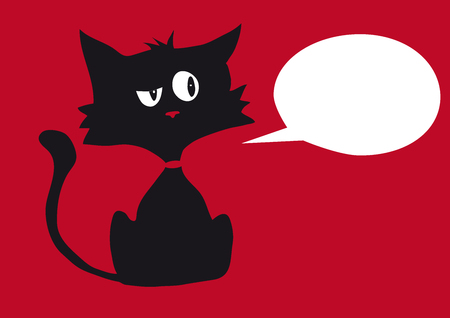 One black cynic cat with one empty bubble label for your text, isolated on red background