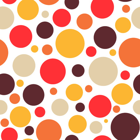 Retro vintage abstract seamless background, circles on white background, dotted, bubbles, warm colors