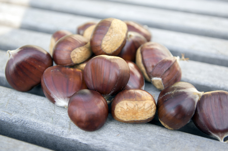 Raw sweet chestnuts scattered on a wooden table, tasty and healthy brownish nuts Stock Photo