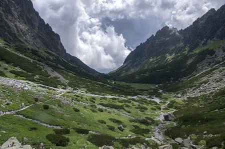 Mala studena dolina hiking trail in High Tatras, summer touristic season, wild nature, touristic trail Stock Photo