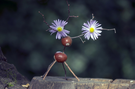 Chestnut animal on wooden stump, deer made of chestnut, acorn and twigs, green background violet flowers on antlers
