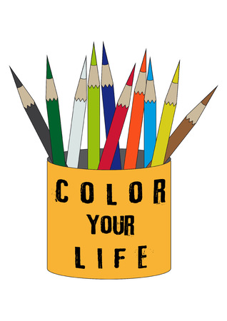 Color you life orange tin with group of colored pencils symbol icon design vector illustration