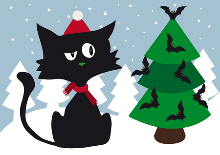 Lonely cynical black cat with red scarf and red santa head celebrating christmas using halloween scary bats tree decoration Ilustração