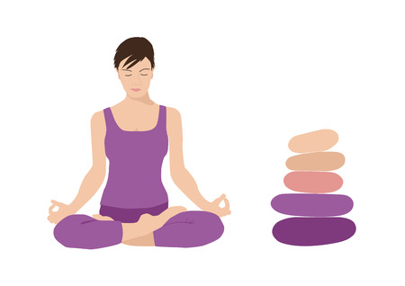 Meditation, harmony, and balance woman with brown hair practicing yoga lotus position padmasana behind stone cairn stack with five pebbles