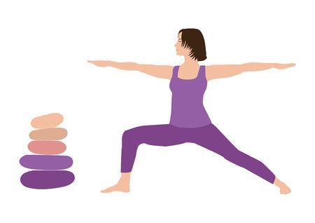 Meditation, harmony, and balance woman with brown hair practicing yoga virabhadrasana warrior pose stone cairn with five pebbles