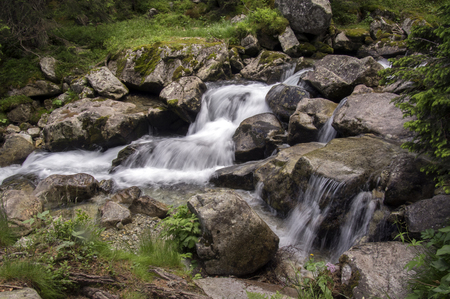 Wild water, stream Maly studeny potok in High Tatras, summer touristic season, wild nature