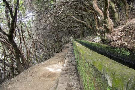 Levada das 25 fontes, touristic hiking trail, Rabacal, Madeira island, Portugal Stock Photo