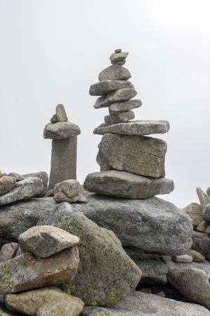 Stone cairns in Tatra mountains, Slovakia, harmony and balance under mount Rysy Stock Photo