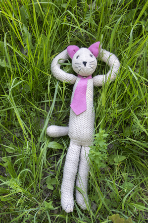 Plush knitted cat relaxing and lying in the grass Stock Photo
