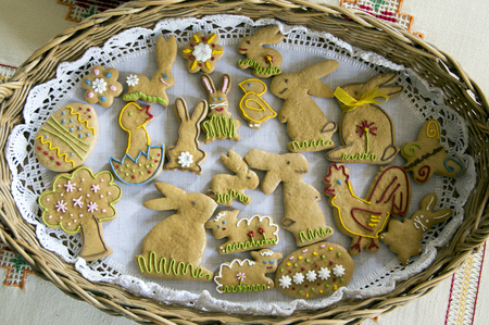 Czech easter gingerbread in wicker basket on tablecloth, comical easter animals Stock Photo