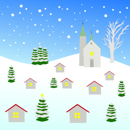 Czech winter willage with church on the hill, houses and trees, night scenery with stars