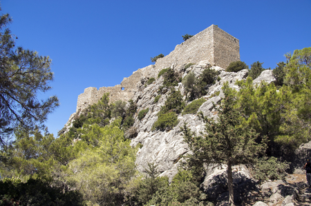 The castle of Monolithos, ruins medieval castle on the top of the rock, Rhodes, Greece