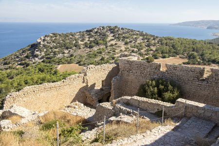 The ruins of Kastellos castle, Kritinia, Rhodes, Greece
