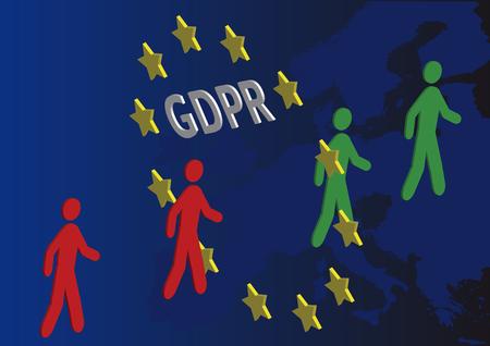 GDPR - General Data Protection Regulation, people walking through the European Union circle Illusztráció