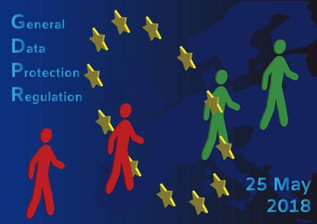 GDPR - General Data Protection Regulation, people walking through the European Union circle Stock Illustratie