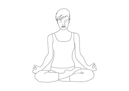 Hand-drawn woman with short hair practicing yoga, lotus position padmasana Vector illustration. Vektorové ilustrace