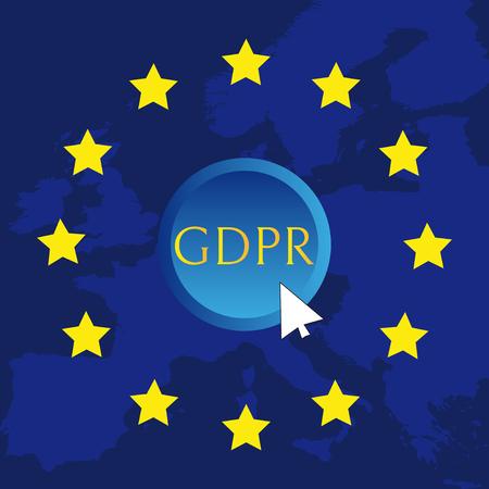 GDPR - General Data Protection Regulation, word abbreviation on button Illusztráció