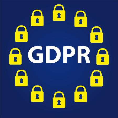 GDPR - General Data Protection Regulation, group of padlock in circle