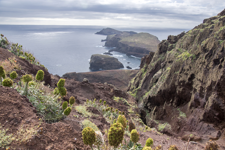 Easternmost part of the island Madeira, Ponta de Sao Lourenco, Canical town, peninsula, dry climate, arid landscape, desolated islands Ilheu da Cevada and Ilheu do Farol