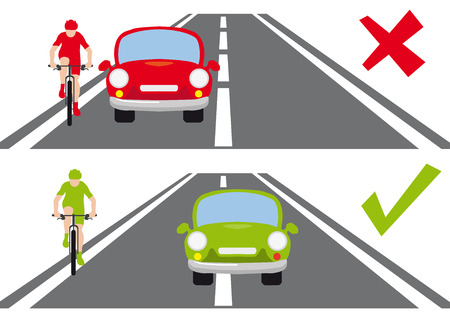 Safety on the road, bicycle and car, how to overtake a cyclist, red and green, correct versus wrong way, model situation. 版權商用圖片 - 100728619