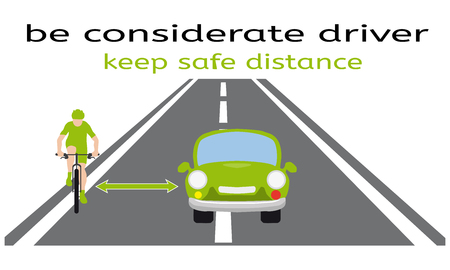 Safety on the road, bicycle and car, how to overtake the cyclist correctly, model situation, considered driver