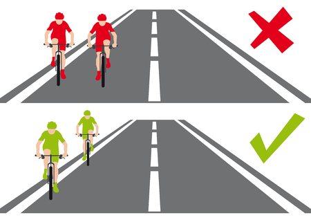 Safety on the road, two bycicles, how they behave on the road, cyclists are running side by side and talking and cyclists are going behind, red and green, correct versus wrong way, model situations Stok Fotoğraf - 110334906