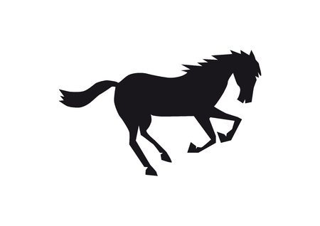 Black horse silhouette isolated on white background, happy animal starting to run, single funny creature