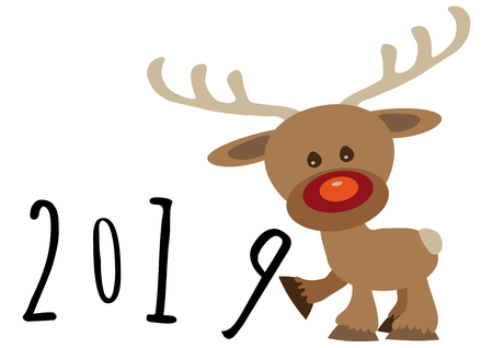 Little funny baby cartoon reindeer supporting number eight in numerical year, pour feliciter 2019 graphic