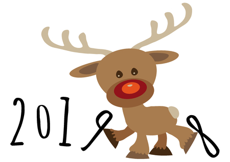 Little funny baby cartoon reindeer supporting number nine in numerical year and kicking number eight, pour feliciter 2019 graphic