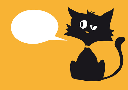 Cartoon cynical cat with a blank white bubble label for custom text, bright orange background, simplicity graphic