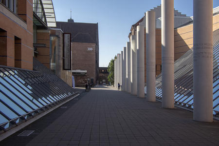 Nuremberg  GERMANY - September 17, 2018: Modern architecture - way of human rights with columns, museum.