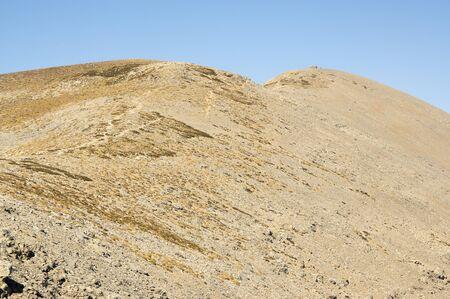 Greek Crete mountain range with highest mountain Ida Psiloritis, very dry hard terrain with sharp rocks and stones, natura park, hard difficult terrain