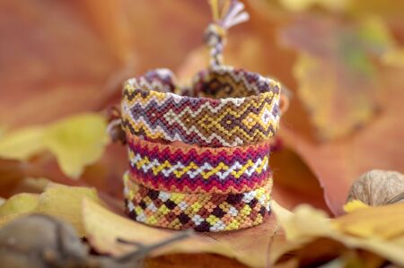 Autumnal still life, group of handmade homemade colorful natural woven bracelets of friendship on dry color leaves