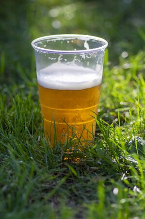 Golden tasty alcoholic beer in plastic crucible in green lawn grass leaves on the ground in sunlight, environmentally unfriendly dish, music festivals time