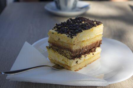 Delicious slovenia cake on white plate called Izolanka, veri tasty dessert with chocolate and orange, metallic spoon and white paper napkin in sunlight, coffee break 写真素材