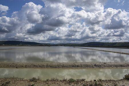 Secovlje Saltworks largest Slovenian salt evaporation pond on Adratic sea, natural and industrial landscape in Slovenia, salt mines near Piran town