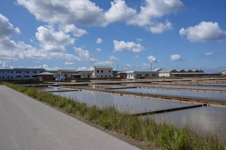 Secovlje Saltworks, Piran / SLOVENIA - September 9, 2019: View of part of technology for salt production from sea. Administrative buildings
