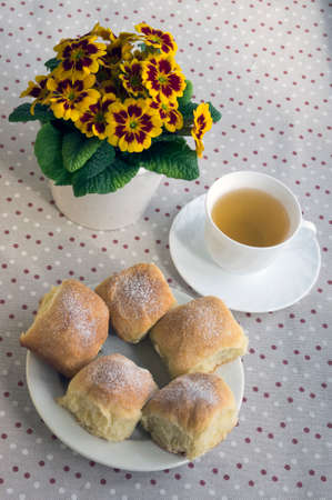 Homemade traditional Czech buns stuffed with plum jam, raisins and cottage cheese on white plate on the table with tea and flower Stockfoto
